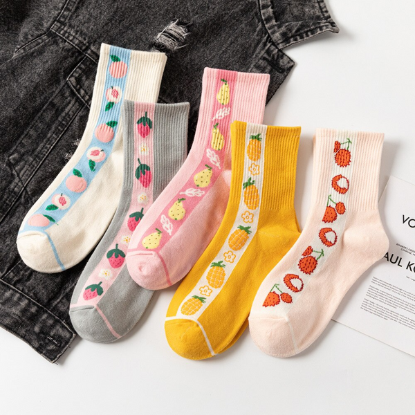 Ribbed Fruit Ankle Socks (5 Designs)