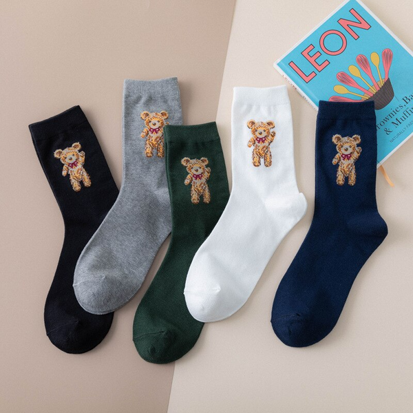 Teddy Bear Ankle Socks (5 Colours)