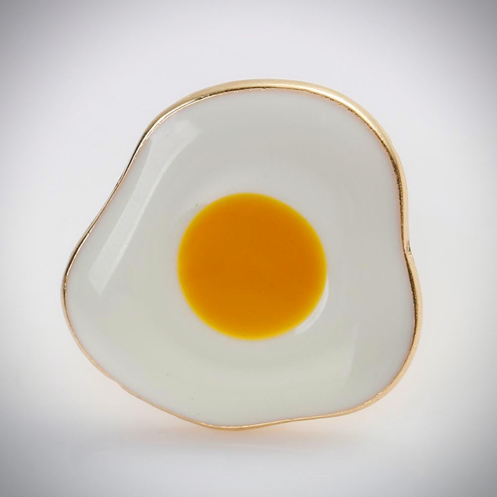 Glossy Fried Egg Enamel Pin - Ice Cream Cake
