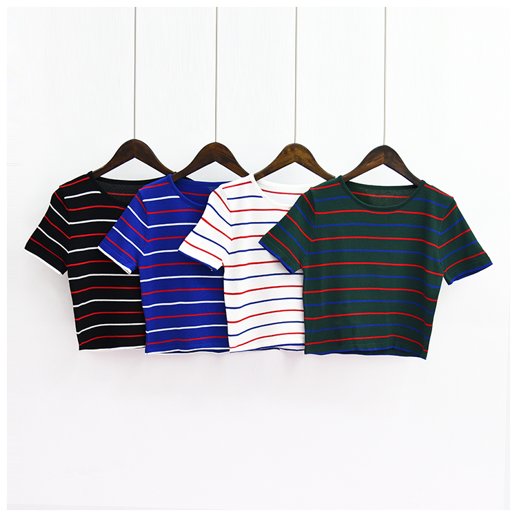 Striped Fitted Crop Top (4 Colours)
