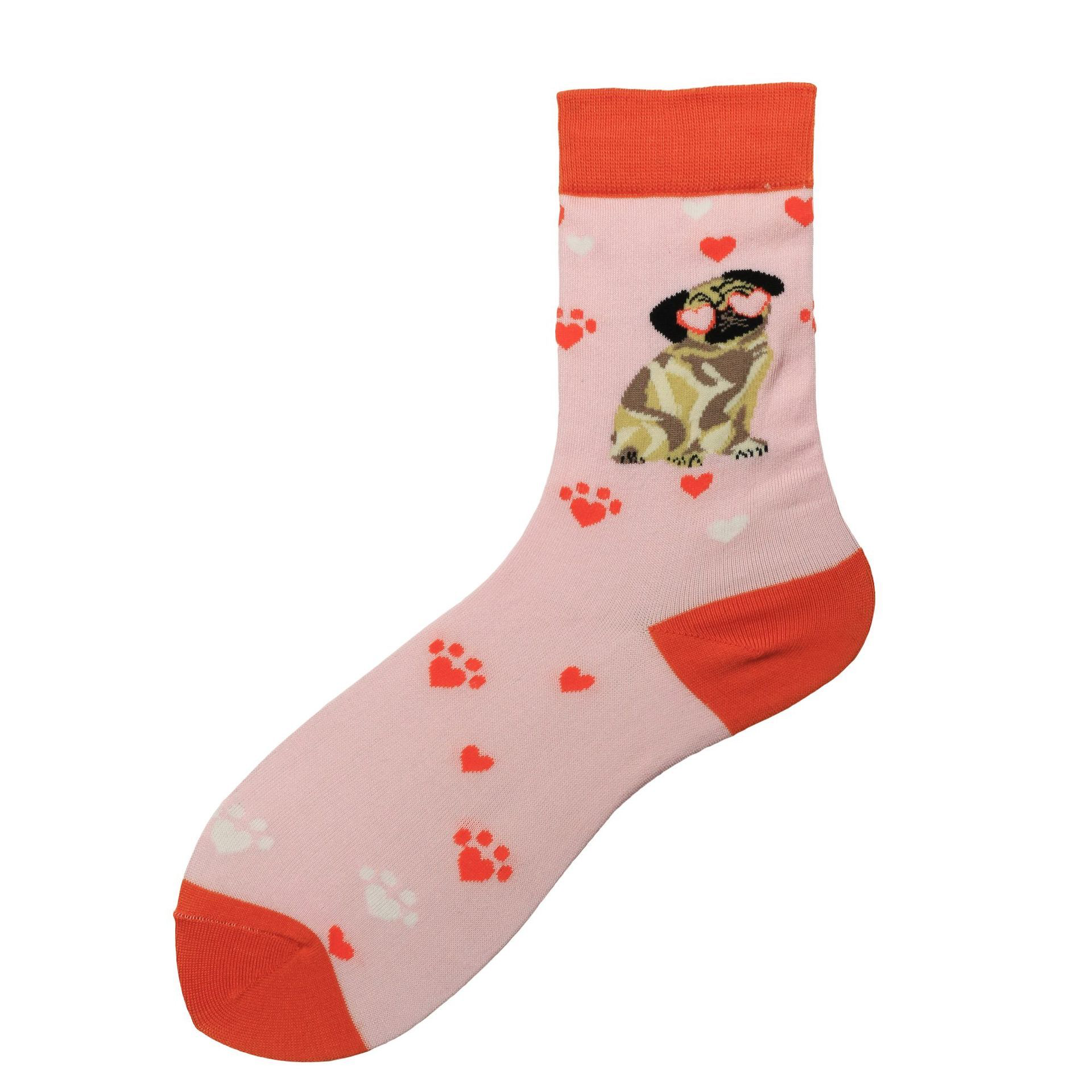 Love Pug Pattern Socks - Ice Cream Cake