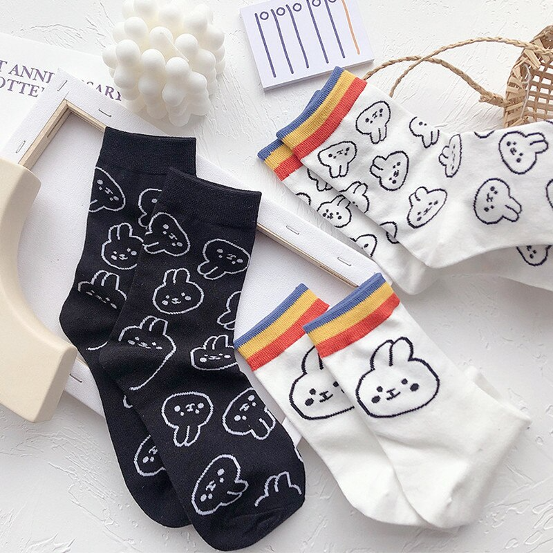 Bunny Pattern Ankle Socks (4 Designs)