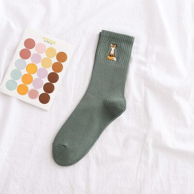 Fox Embroidery Ankle Socks (5 Colours)