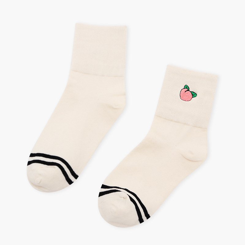 Striped Fruit Embroidery Ankle Socks - Ice Cream Cake