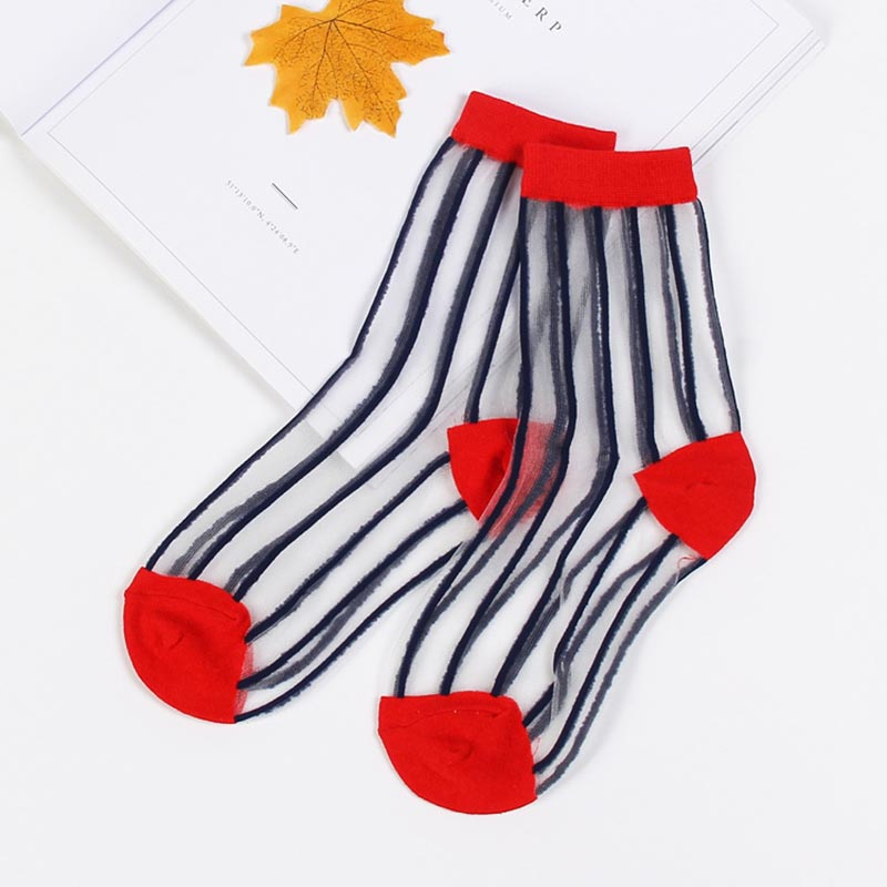 Transparent Stripe Ankle Socks (2 Colours) - Ice Cream Cake