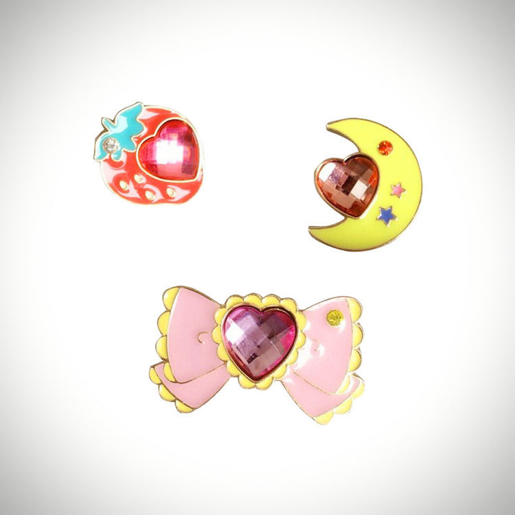 Magical Girl Jewel Enamel Pins (3 Designs) - Ice Cream Cake