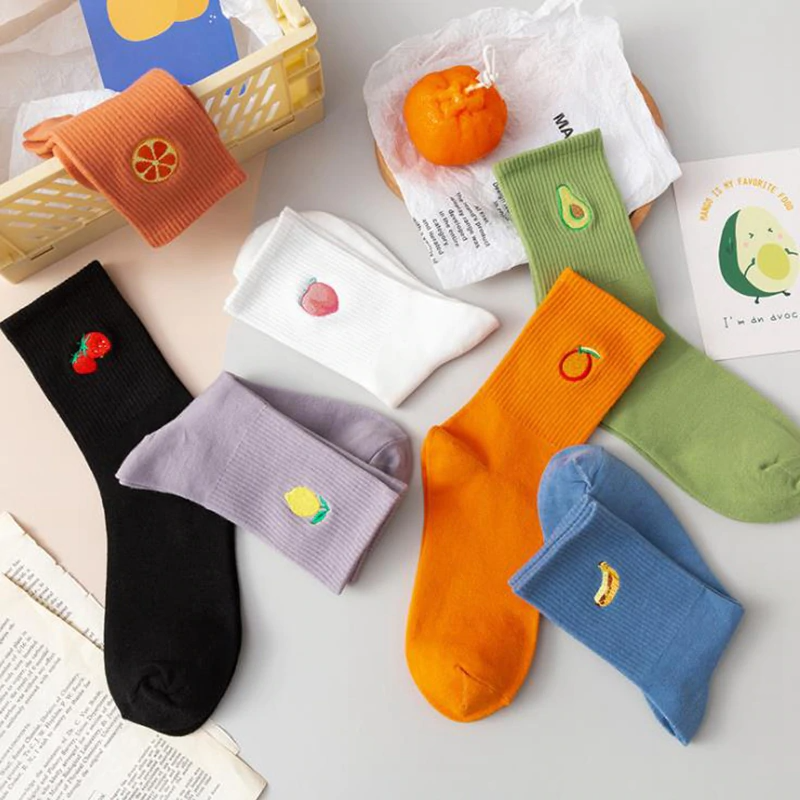 Ribbed Fruit Embroidery Ankle Socks (7 Designs)