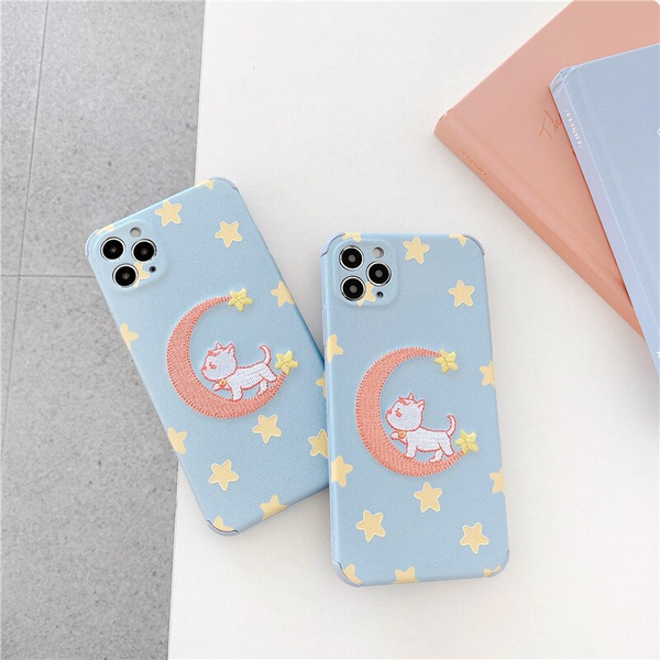 Crescent Moon Kitten Embroidered iPhone Case