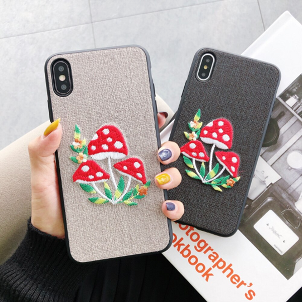 Embroidered Mushrooms iPhone Case (2 Colours)