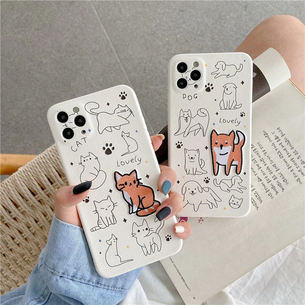 Lovely Pets Embroidered iPhone Case (2 Designs)