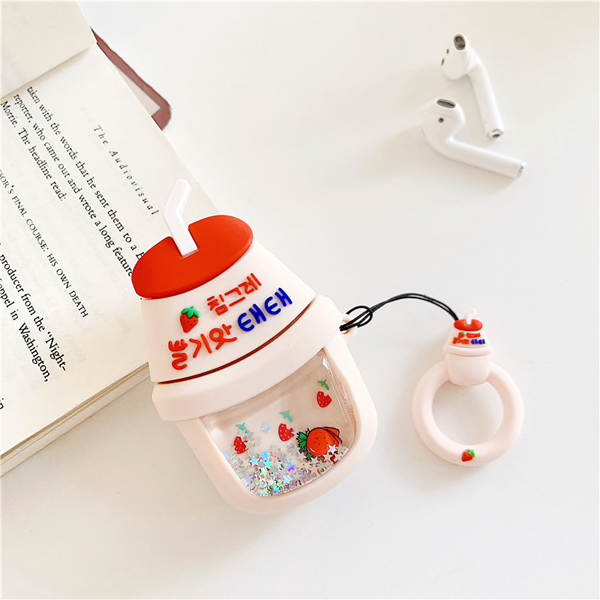 Glitter Quicksand Fruit Milk Airpod Case Cover (2 Designs) - Ice Cream Cake