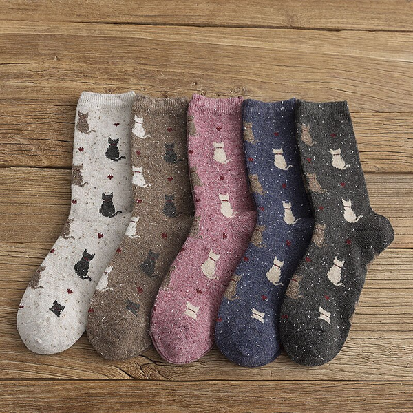 Speckle Cat Ankle Socks (5 Colours)