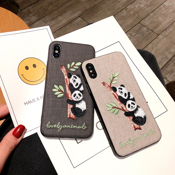 Embroidered Panda Bear iPhone Case (2 Colours)