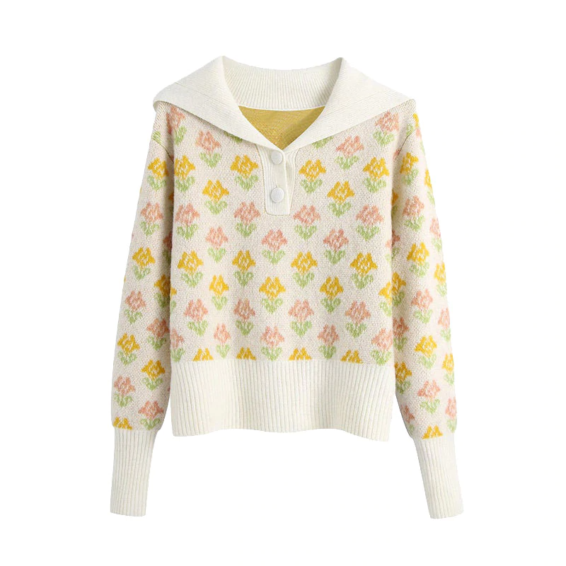 Sailor Collar Rose Knit