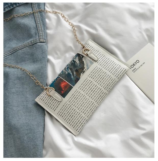 Newspaper Mini Chain Purse