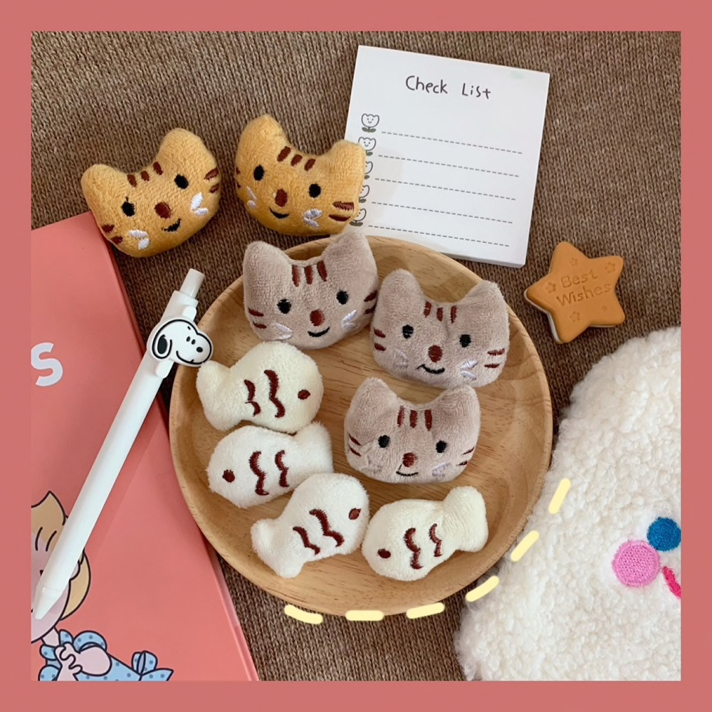 Plush Cat Face Brooch (3 Designs) - Ice Cream Cake
