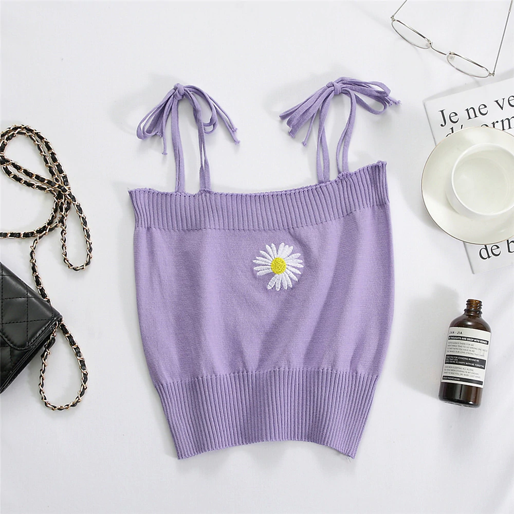 Daisy Embroidery Knit Top (9 Colours)