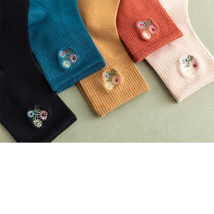 Flower Embroidery Ankle Socks (5 Colours) - Ice Cream Cake