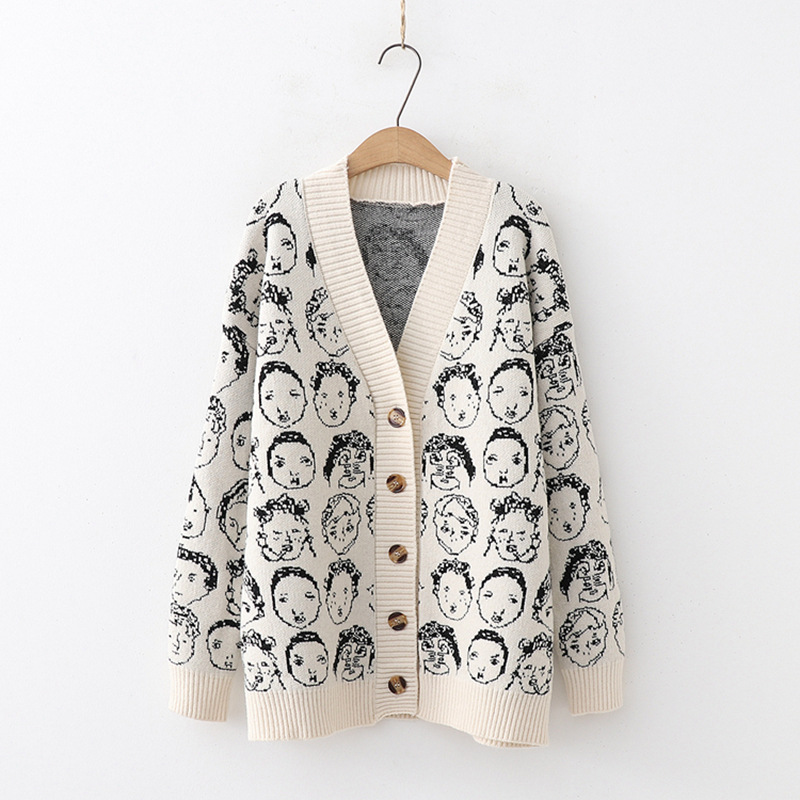 Cartoon Face Pattern Cardigan (2 Colours)