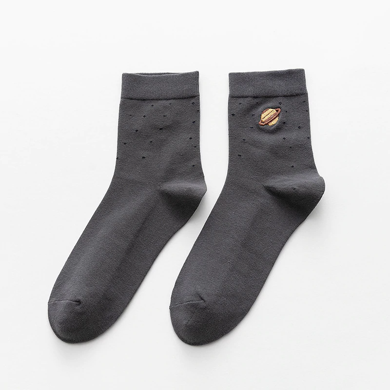 Saturn Embroidery Ankle Socks (5 Colours)
