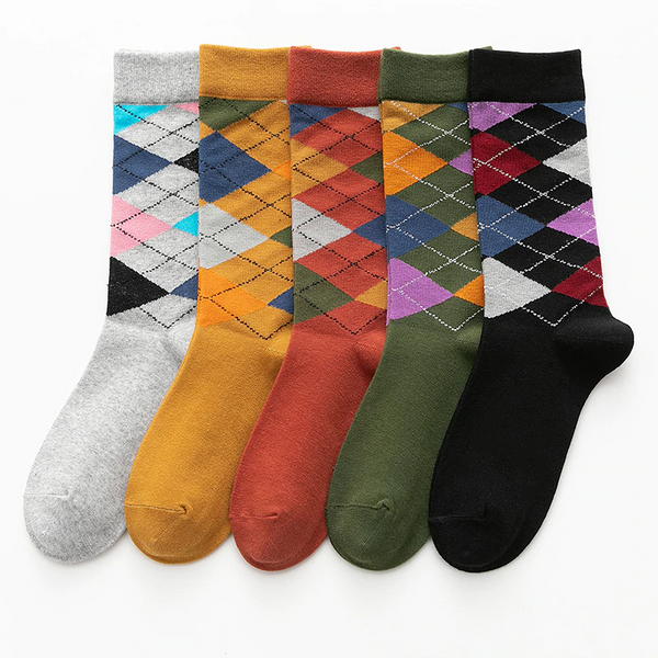 Argyle Pattern Ankle Socks (5 Colours)