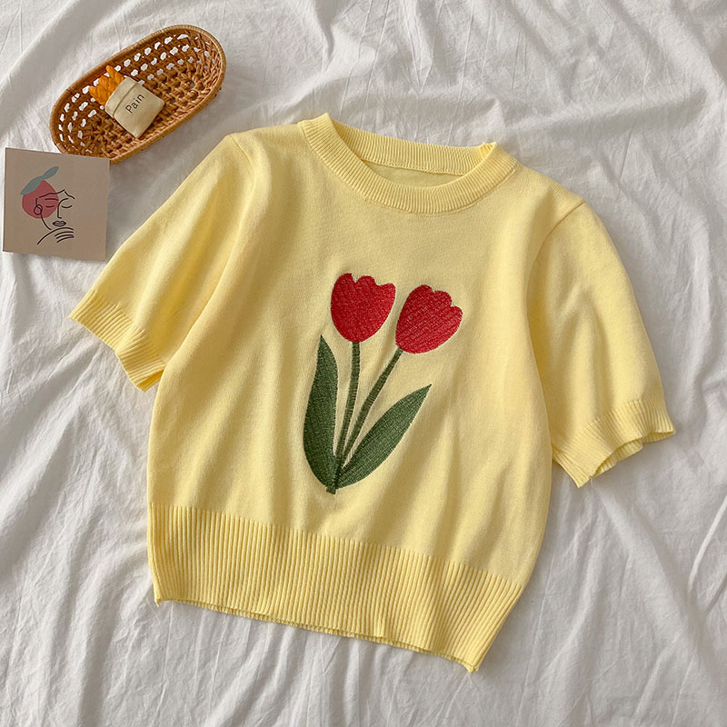 Knitted Flower Tee (4 Designs)