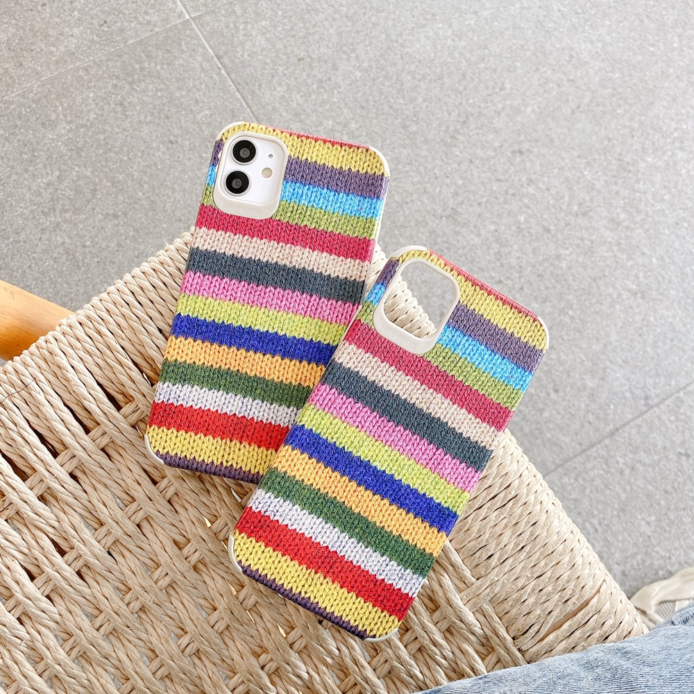 Rainbow Knit Print iPhone Case