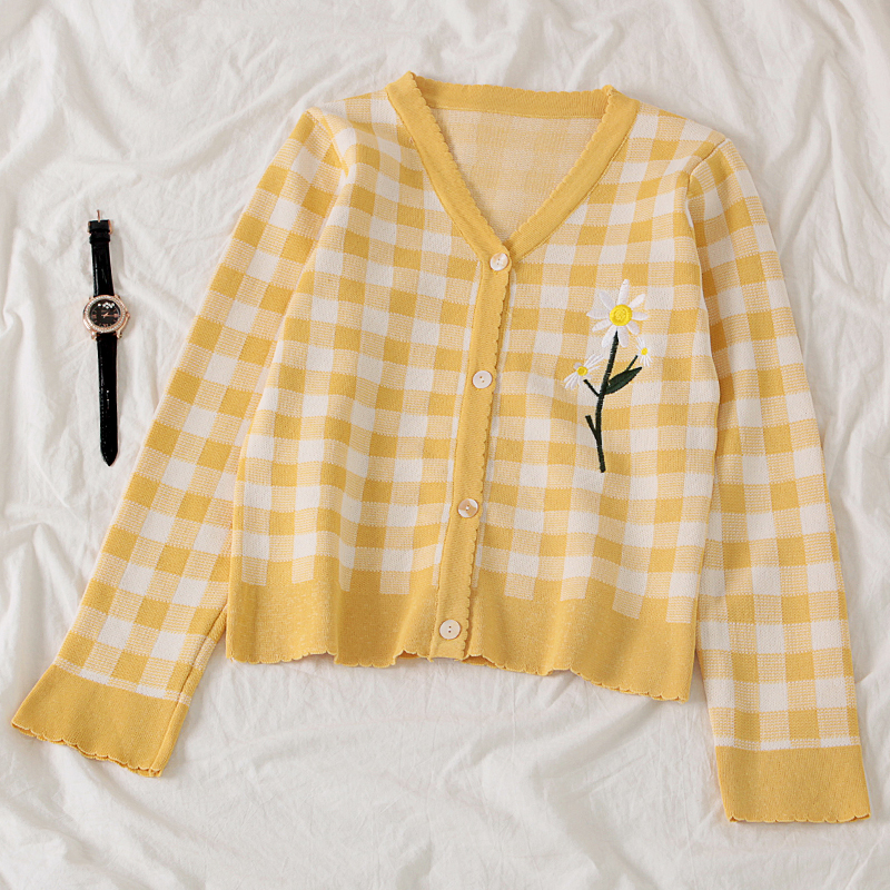 Gingham Daisy Cardigan (2 Colours)