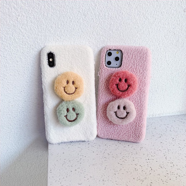 Fuzzy Smiley Faces Phone Case (2 Colours) - Ice Cream Cake
