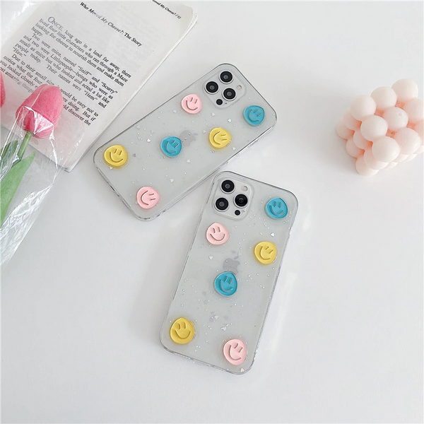 Pastel Glitter Smiley Face iPhone Case