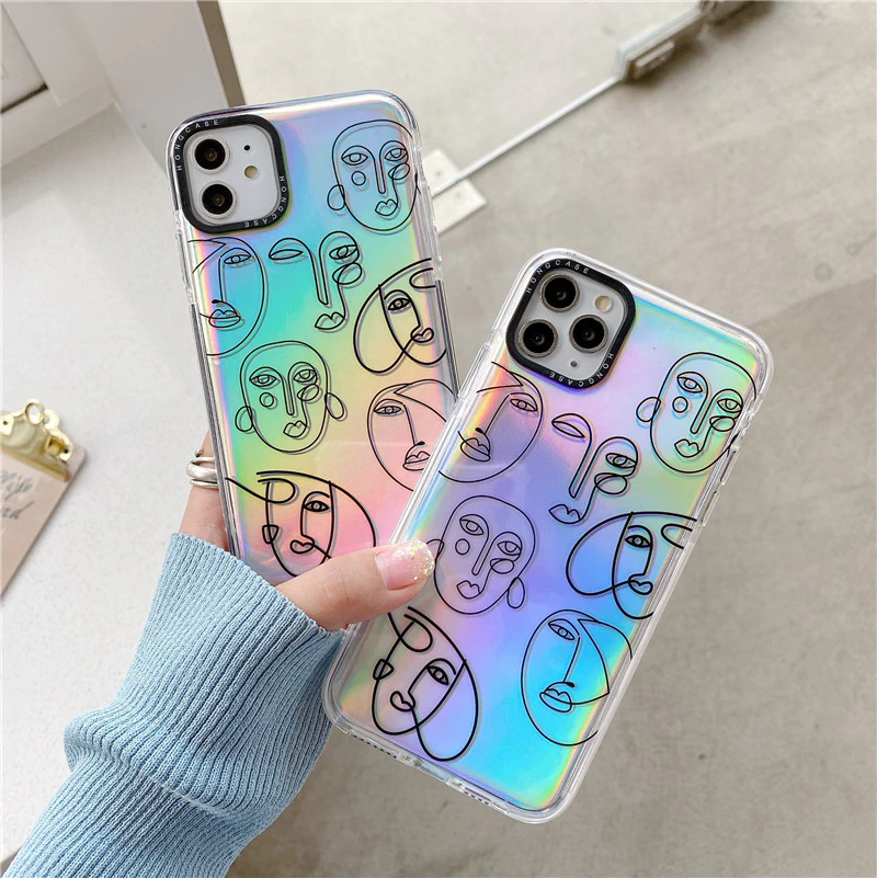 Holographic Faces Pattern iPhone Case