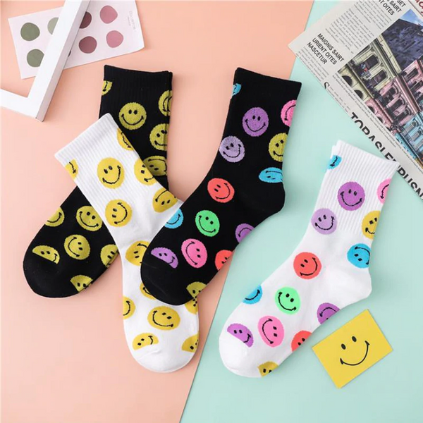 Smiley Face Pattern Socks (4 Designs)