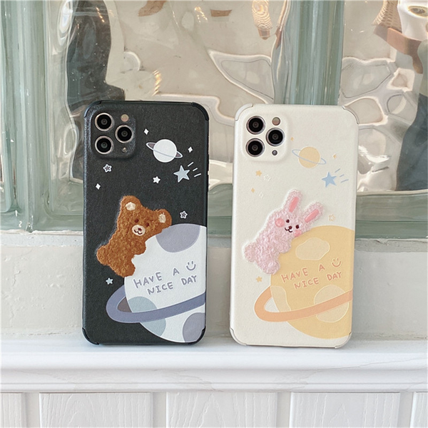 Space Animals Embroidered iPhone Case (2 Designs)