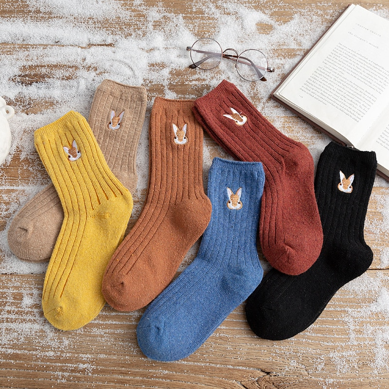 Bunny Embroidery Ankle Socks (6 Colours)