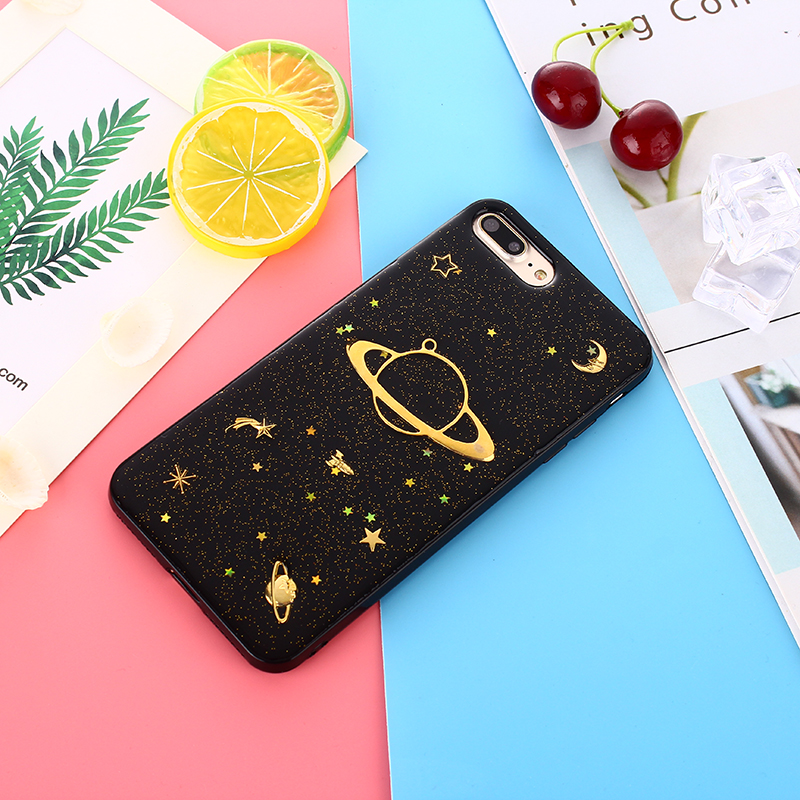 Black Glitter Space iPhone Case (2 Designs) - Ice Cream Cake