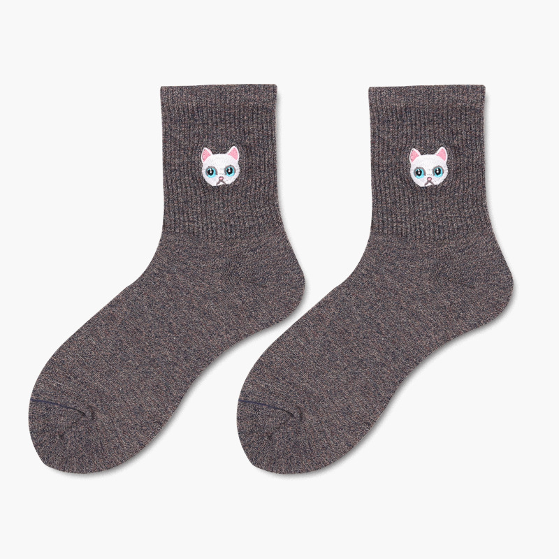 Cat Face Embroidery Ankle Socks (6 Colours) - Ice Cream Cake