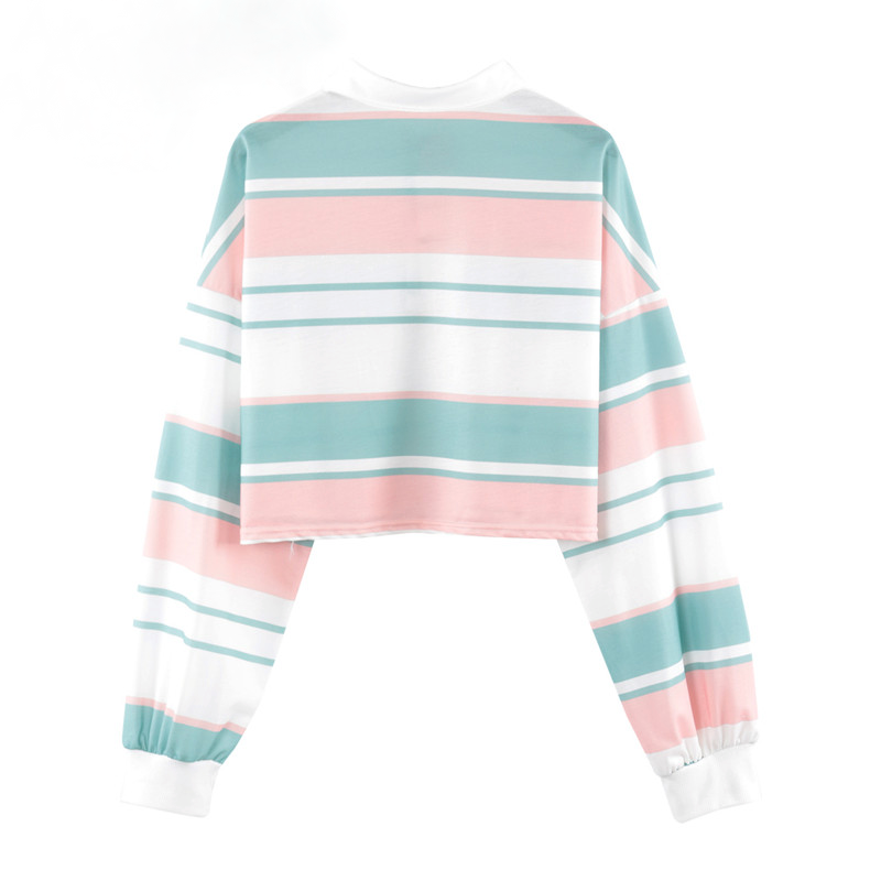 Pastel Striped Cropped Polo Shirt - Ice Cream Cake
