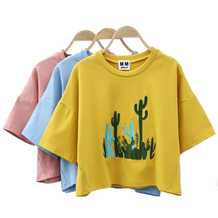 Cactus Embroidery Tees (4 colours) - Ice Cream Cake
