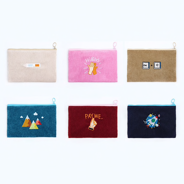 Corduroy Illustrated Coin Purse (6 Designs) - Ice Cream Cake
