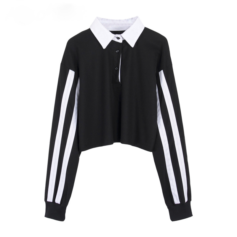 Striped Sleeves Cropped Polo Shirt (2 Colours)