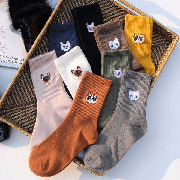 Cat Face Embroidery Ankle Socks (9 Colours) - Ice Cream Cake
