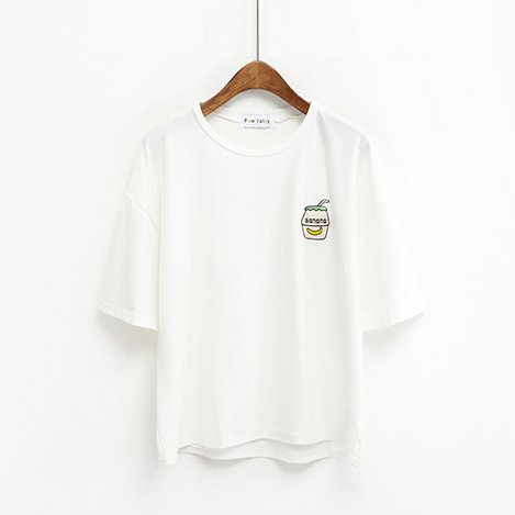 Banana Milk Embroidery Tee (2 colours) - Ice Cream Cake