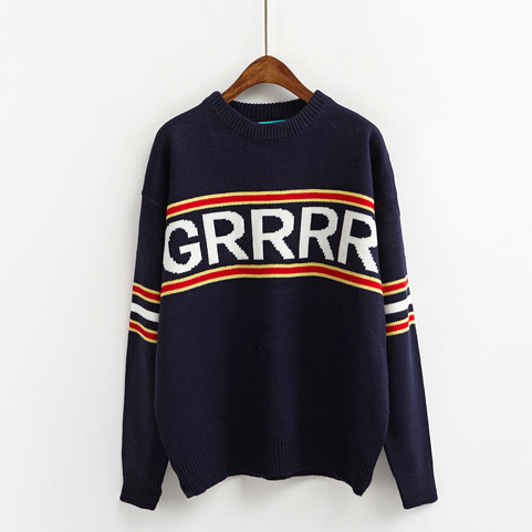 Knit GRRRR Letter Jumper (3 colours) - Ice Cream Cake