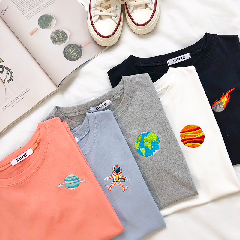 Space Embroidery T-Shirts (5 Designs) - Ice Cream Cake
