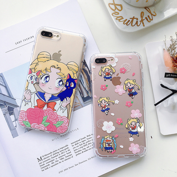 Sailor Moon Floral Clear iPhone Case (2 Designs) - Ice Cream Cake
