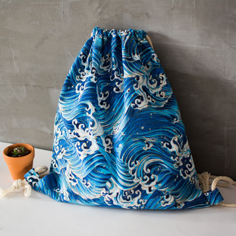 Waves Drawstring Backpack - Ice Cream Cake
