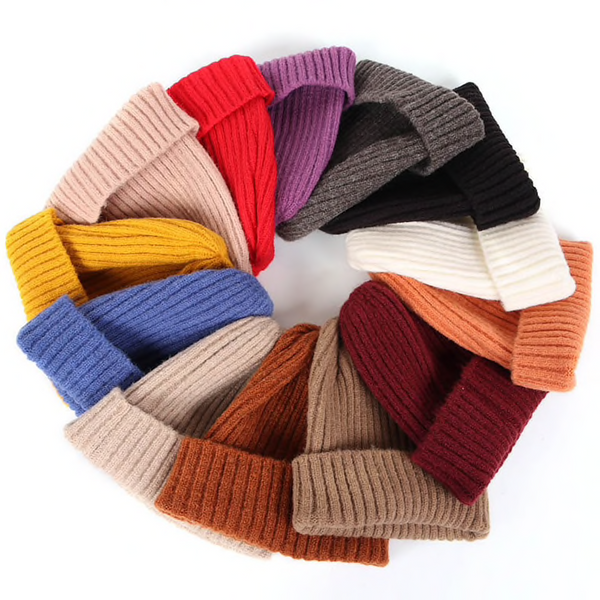 Ribbed Knit Foldover Beanie Hat (13 Colours) - Ice Cream Cake