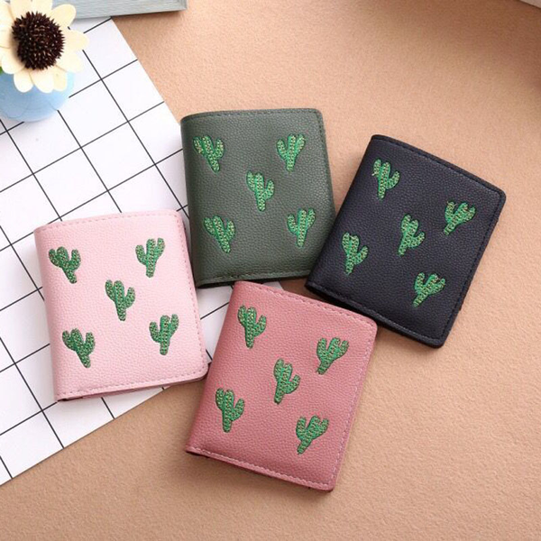 Cactus Embroidery Wallet (4 Colours)