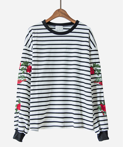 Striped Rose Embroidery Pullover