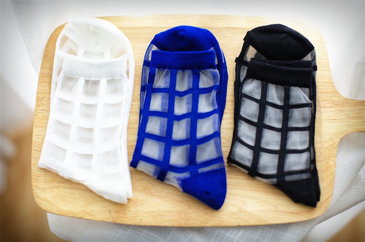 Transparent grid socks - Ice Cream Cake